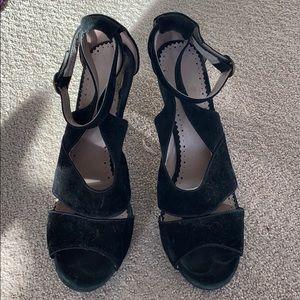 Anthropologie Black Suede Strappy Heels